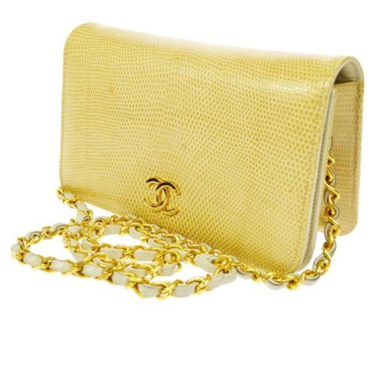 Women's Chanel Nude Tan Lizard Exotic Leather Gold WOC Clutch Evening Flap Shoulder Bag For Sale