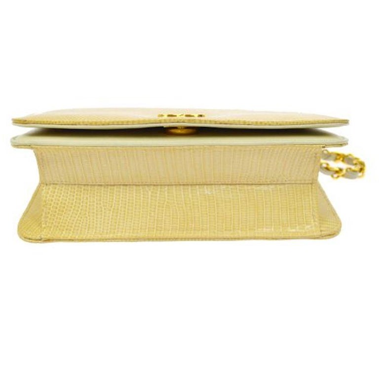 Chanel Nude Tan Lizard Exotic Leather Gold WOC Clutch Evening Flap Shoulder Bag For Sale 1
