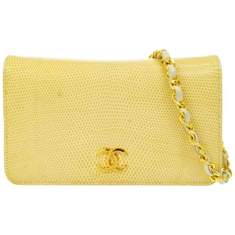 Chanel Nude Tan Lizard Exotic Leather Gold WOC Clutch Evening Flap Shoulder Bag For Sale
