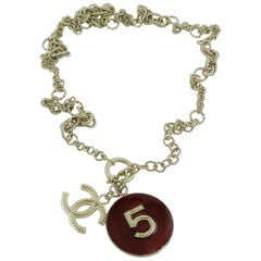 Chanel Number 5 Disc and CC Pendant Necklace