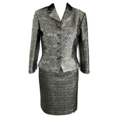 Chanel NWT 2012 12A Metallic Silver, Gold, Black Jacket & Skirt Suit FR 38/ US 6