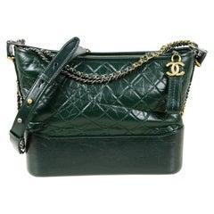 Chanel NWT Dark Green Distressed Quilted Medium Gabrielle Bag
