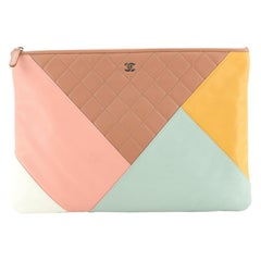 Chanel O Case Clutch Colorblock Quilted Leather Large
