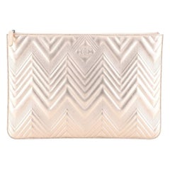 Chanel O Case Clutch Metallic Chevron Calfskin Large