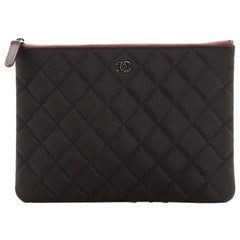 Chanel O Case Clutch Quilted Nylon Small