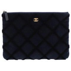 Chanel O Case Clutch Quilted Velvet Medium
