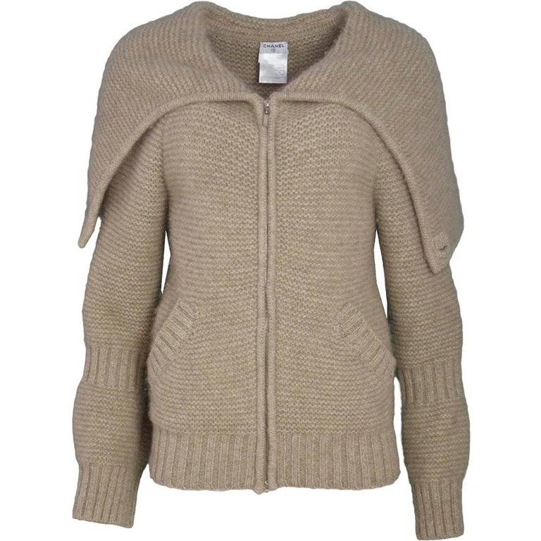 Chanel Oatmeal Cashmere Knit Sweater Sz FR38