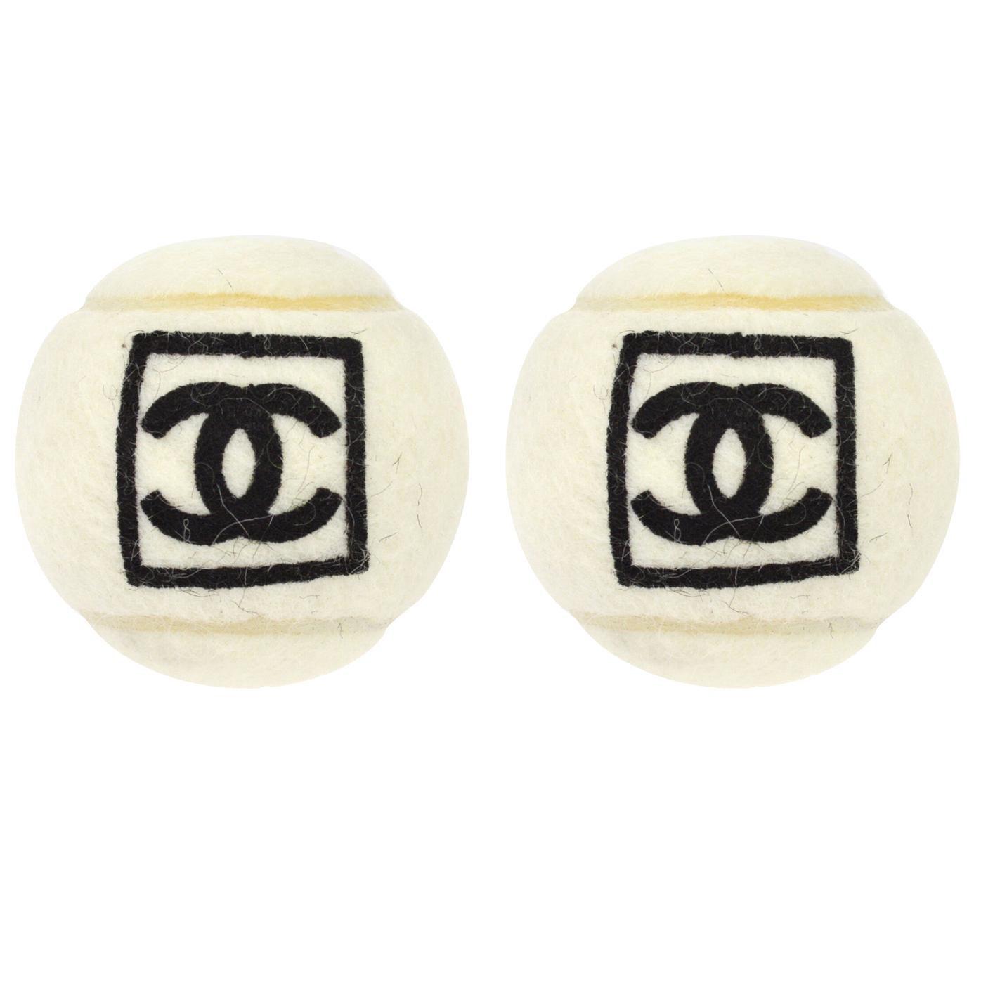 Chanel Off White Black CC Logo Sports Game Novelty Tennis Ball - A Pair (2)