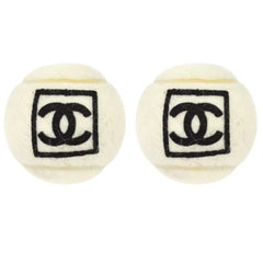 Chanel Off White Black CC Logo Sports Game Novelty Tennis Ball - A Pair (2)