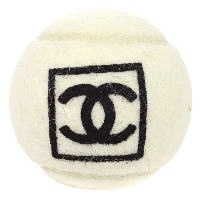 Chanel Off White Black CC Logo Sports Game Novelty Tennis Ball For Sale