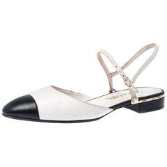 Chanel Off White/Black Leather CC Cap Toe Ankle Strap Sandals Size 38