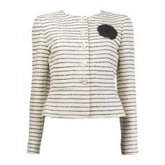 CHANEL off-white cotton & back SEQUIN Collarless Blazer Jacket M