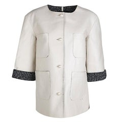 Chanel Off White Lambskin Leather Contrast Lined Pearl Buttoned Jacket M