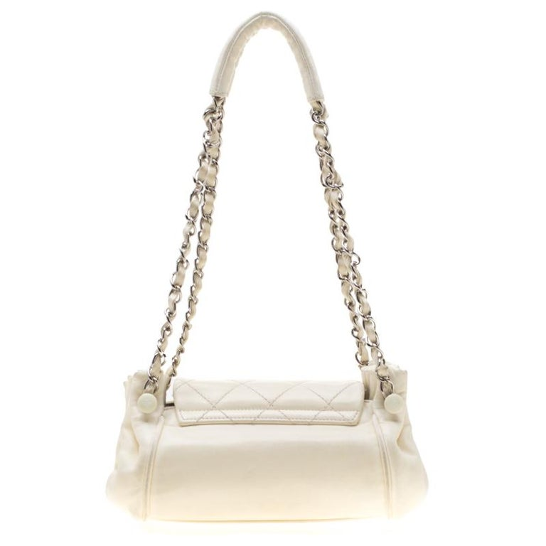 Chanel Off White Leather CC Accordion Flap Shoulder Bag For Sale 2