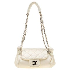 Chanel Off White Leather CC Accordion Flap Shoulder Bag
