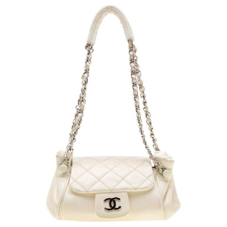 Chanel Off White Leather CC Accordion Flap Shoulder Bag For Sale