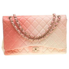 Chanel Off-White/Ombre Quilted Leather Maxi Classic Single Flap Bag