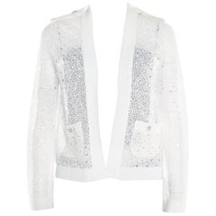 Chanel Off White Perforated Crochet Knit Button Front Cardigan S