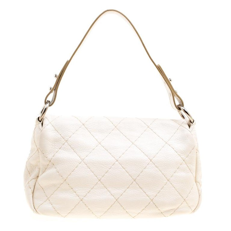 1daf1e0224a1a7 ... Small On the Road Flap Bag For Sale. Unmistakably designed in Italy  from Chanel's signature quilted leather in an off-white hue,