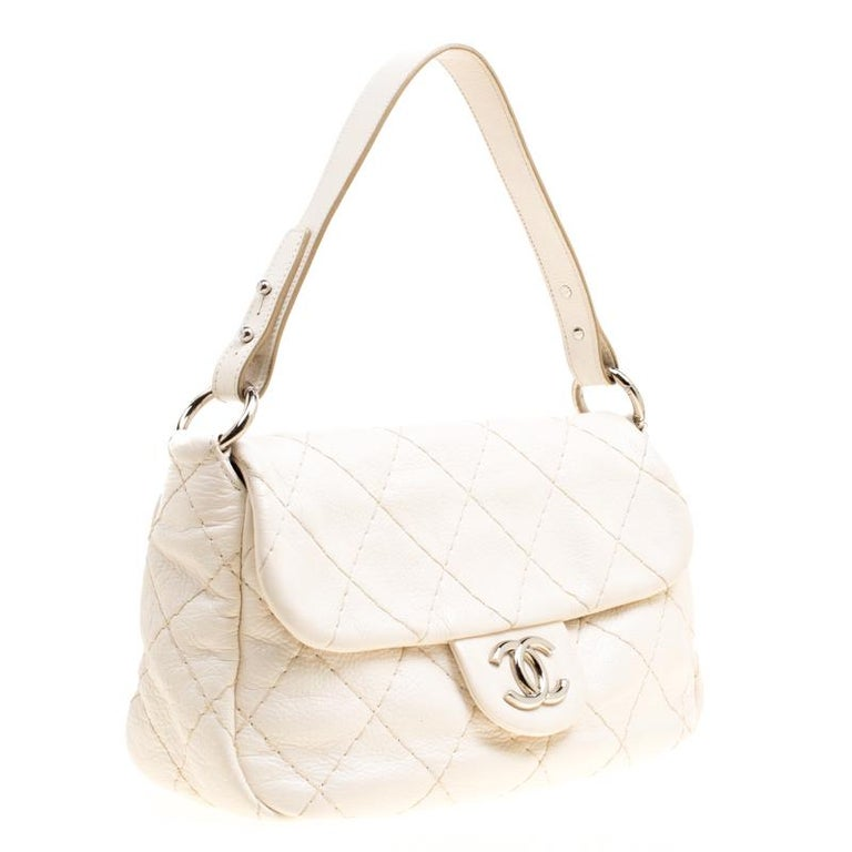 7ea5a24c07db4e Women's Chanel Off White Quilted Leather Small On the Road Flap Bag For Sale
