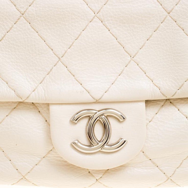 0298c8d07d9eae Chanel Off White Quilted Leather Small On the Road Flap Bag For Sale 1