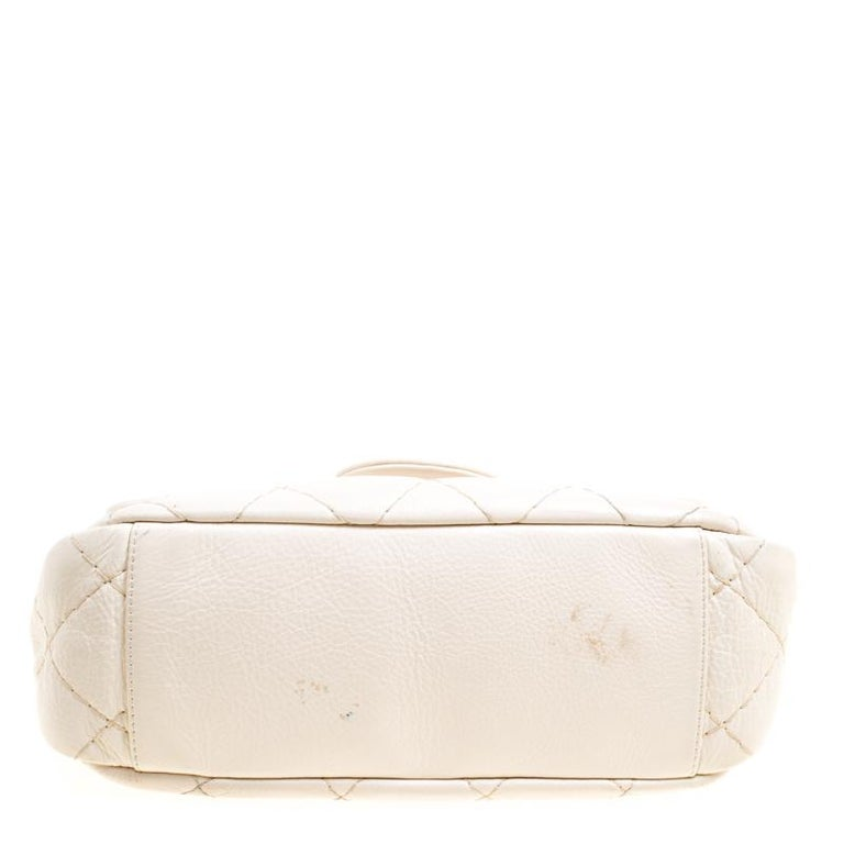 6bee798ccf6ea7 Chanel Off White Quilted Leather Small On the Road Flap Bag For Sale 2