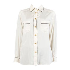 CHANEL off white silk BLACK PIPING Button Up Shirt Blouse XL