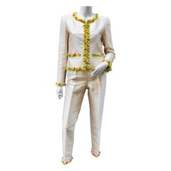 Chanel Off-White Silk Pant Suit Embroidered with Multicolored Beads
