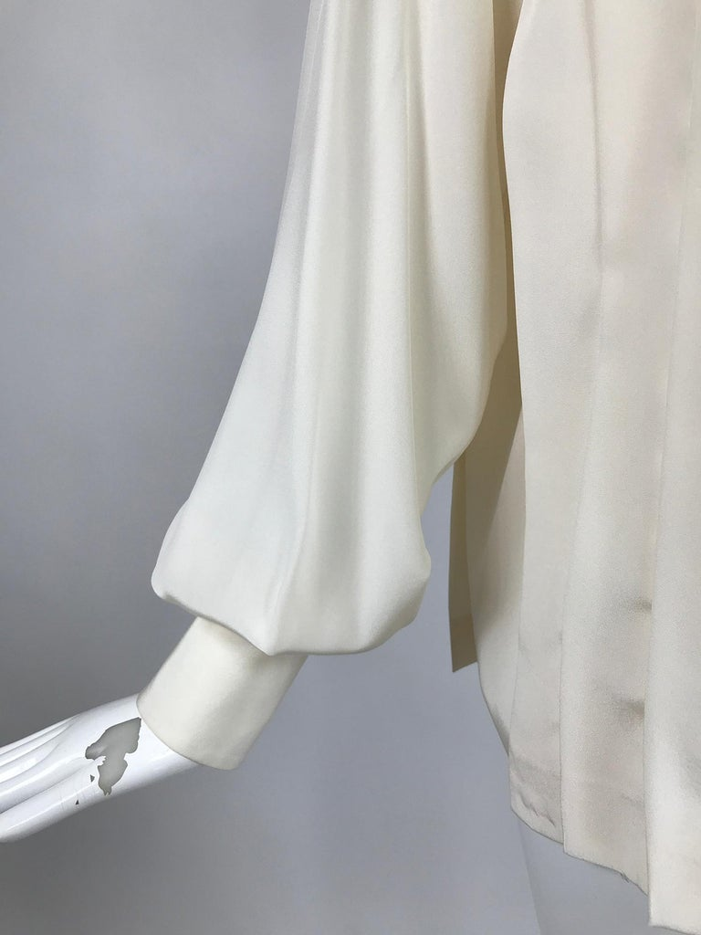 Chanel Off White Silk Pleated Long Sleeve Blouse For Sale 5