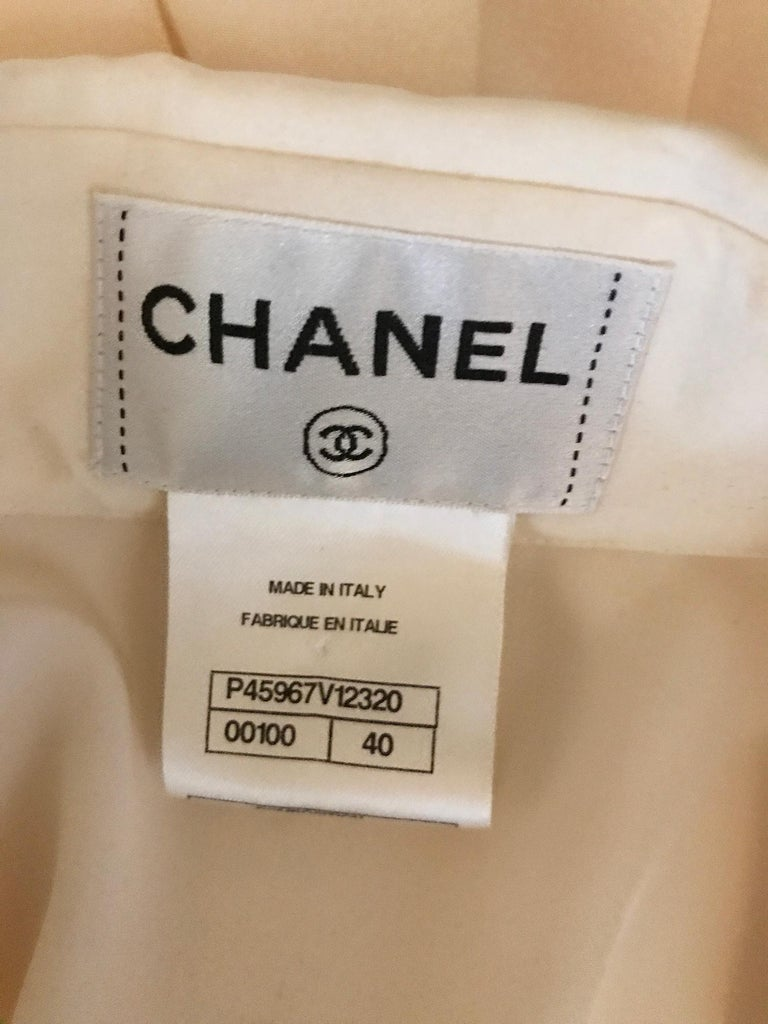 Chanel Off White Silk Pleated Long Sleeve Blouse For Sale 7