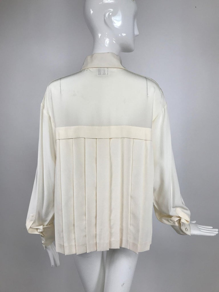 Chanel Off White Silk Pleated Long Sleeve Blouse For Sale 1
