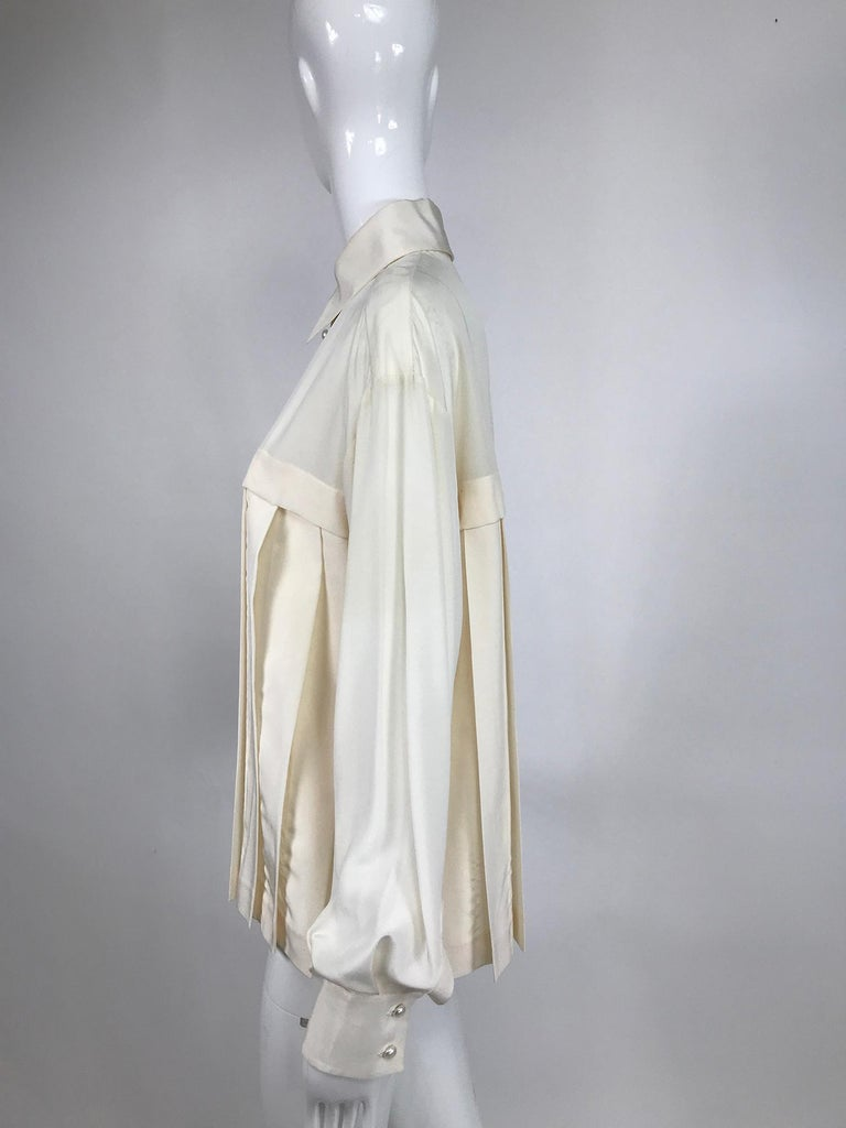 Chanel Off White Silk Pleated Long Sleeve Blouse For Sale 3