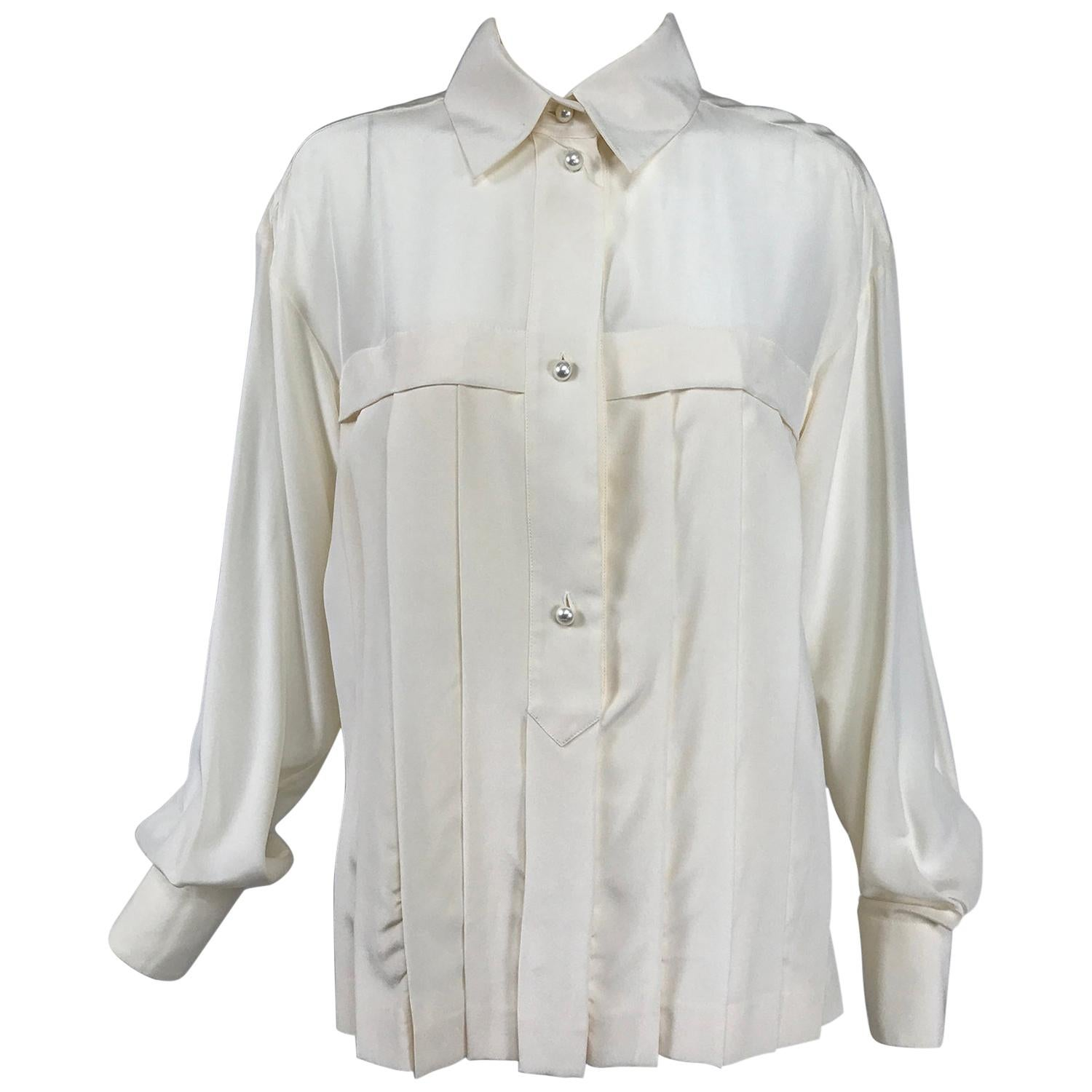 Chanel Off White Silk Pleated Long Sleeve Blouse