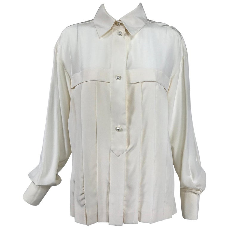 Chanel Off White Silk Pleated Long Sleeve Blouse For Sale