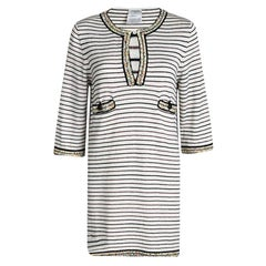 Chanel Off White Striped Knit Multicolor Bead Detail Sweater Tunic M