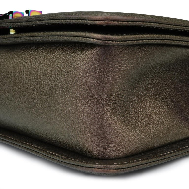 CHANEL Old Medium Boy Bag Bronze Iridescent Goatskin with Rainbow Hardware 2016 For Sale 5