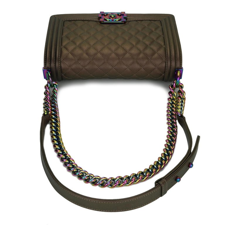 CHANEL Old Medium Boy Bag Bronze Iridescent Goatskin with Rainbow Hardware 2016 For Sale 6