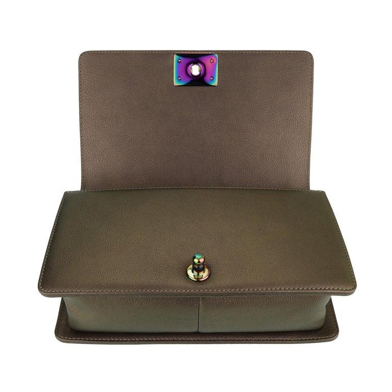 CHANEL Old Medium Boy Bag Bronze Iridescent Goatskin with Rainbow Hardware 2016 For Sale 7