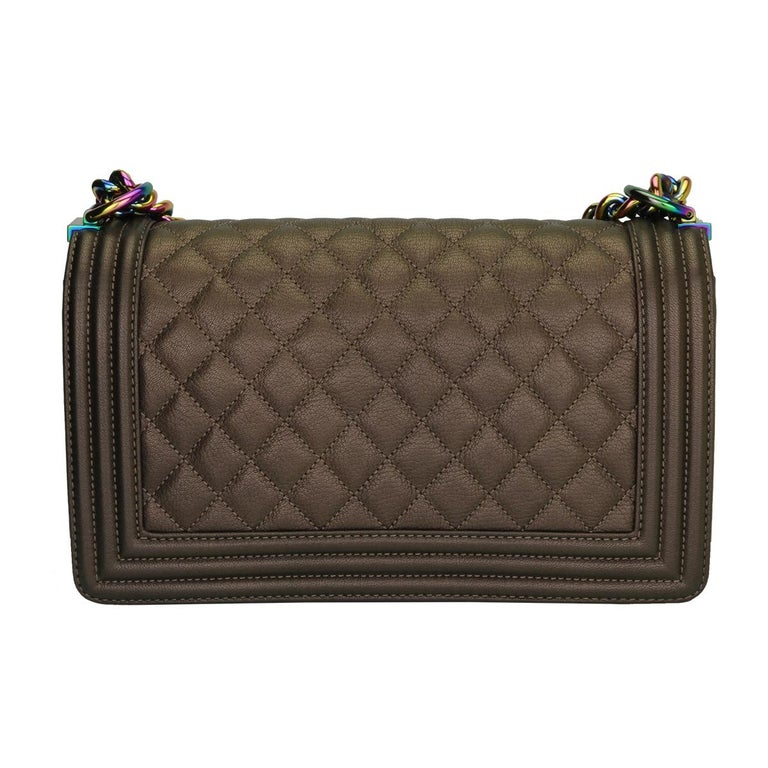 CHANEL Old Medium Boy Bag Bronze Iridescent Goatskin with Rainbow Hardware 2016 In Excellent Condition For Sale In Huddersfield, GB
