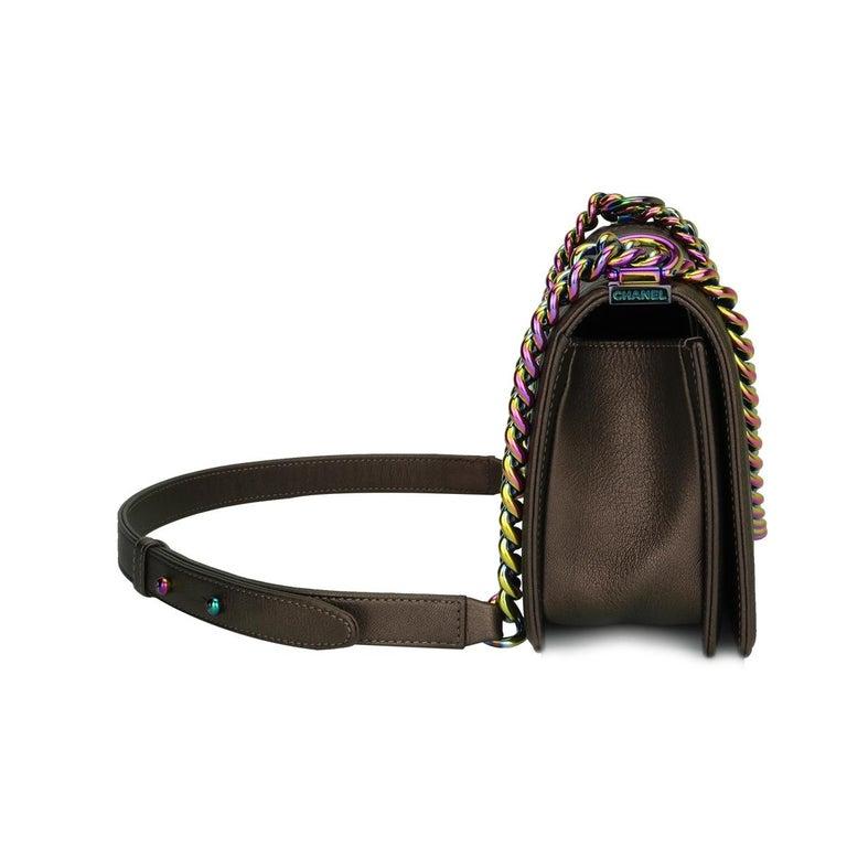 Women's or Men's CHANEL Old Medium Boy Bag Bronze Iridescent Goatskin with Rainbow Hardware 2016 For Sale