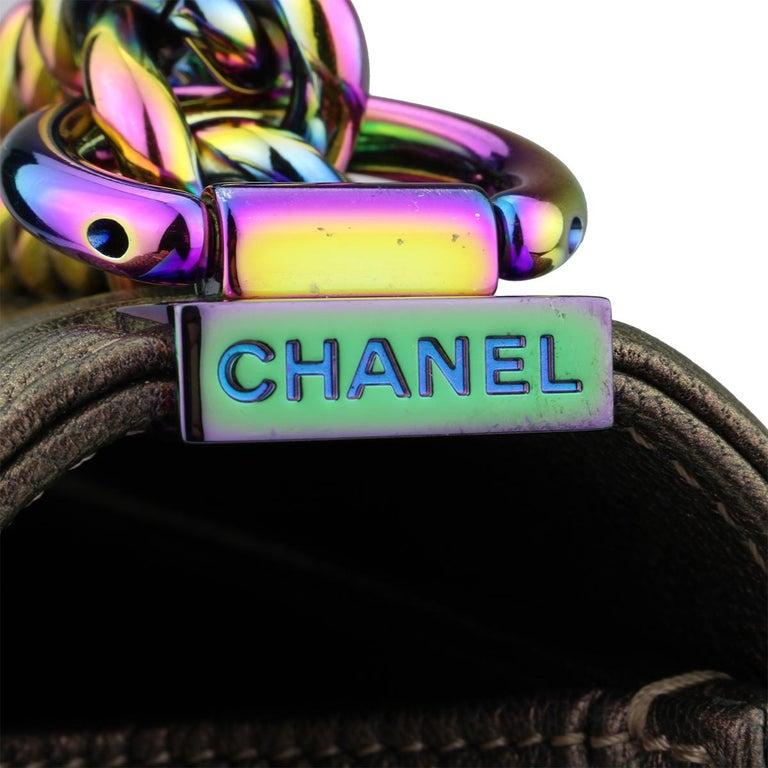 CHANEL Old Medium Boy Bag Bronze Iridescent Goatskin with Rainbow Hardware 2016 For Sale 1