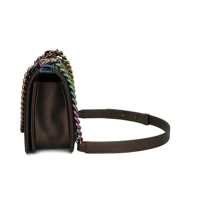 CHANEL Old Medium Boy Bag Bronze Iridescent Goatskin with Rainbow Hardware 2016 For Sale 2