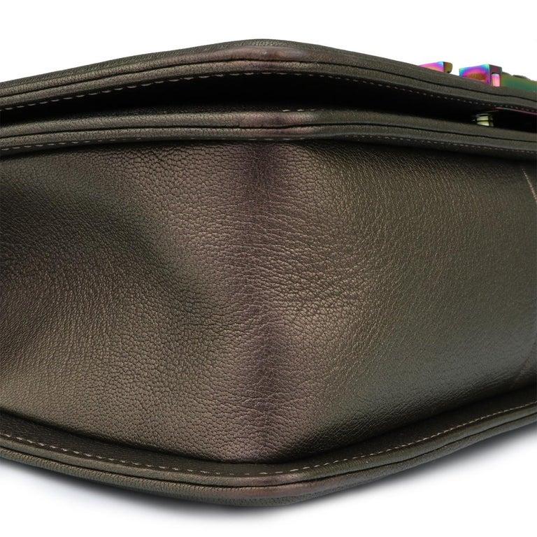 CHANEL Old Medium Boy Bag Bronze Iridescent Goatskin with Rainbow Hardware 2016 For Sale 4
