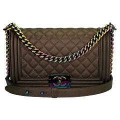 CHANEL Old Medium Boy Bag Bronze Iridescent Goatskin with Rainbow Hardware 2016