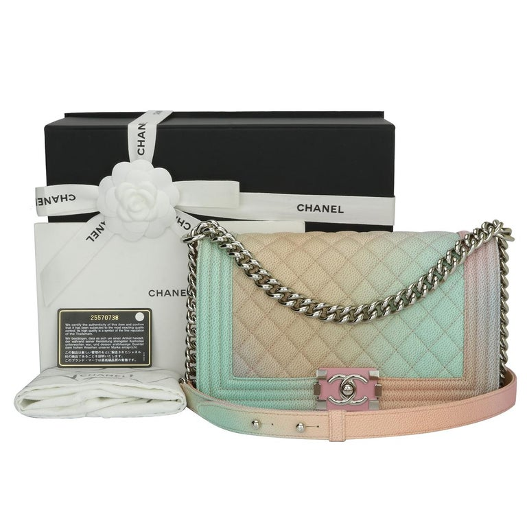 d6fc2d5e8e653f Authentic Chanel Old Medium Boy Bag Rainbow Caviar with Silver Hardware  2018. This stunning bag