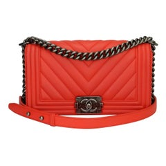 Chanel Old Medium Boy Bag Red Chevron Calfskin with Ruthenium Hardware 2016