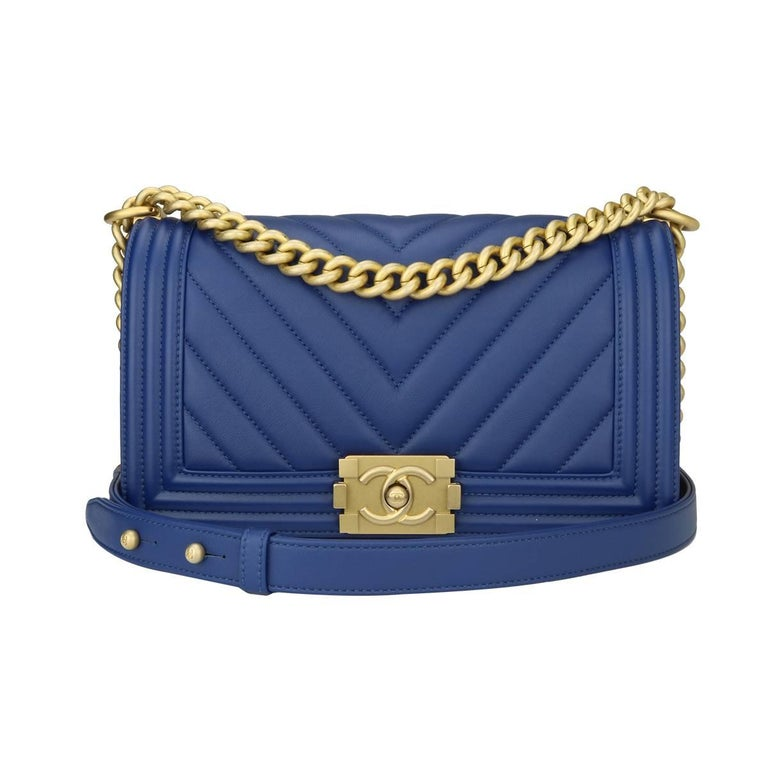 4a42cca223a Chanel Old Medium Chevron Boy Blue Calfskin with Brushed Gold Hardware 2018  For Sale. Authentic ...