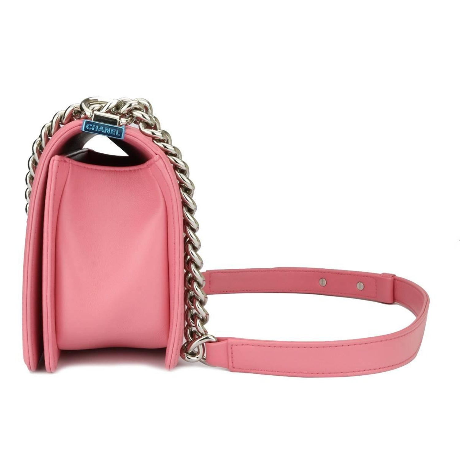 282ab099b74a Chanel Old Medium Chevron Boy Pink Calfskin with Shiny Silver Hardware 2016  at 1stdibs