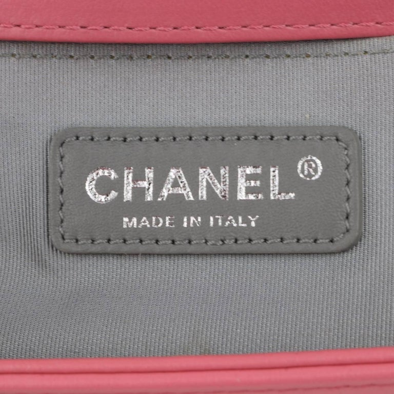 c91f5e97414f Chanel Old Medium Chevron Boy Pink Calfskin with Shiny Silver Hardware 2016  For Sale 4