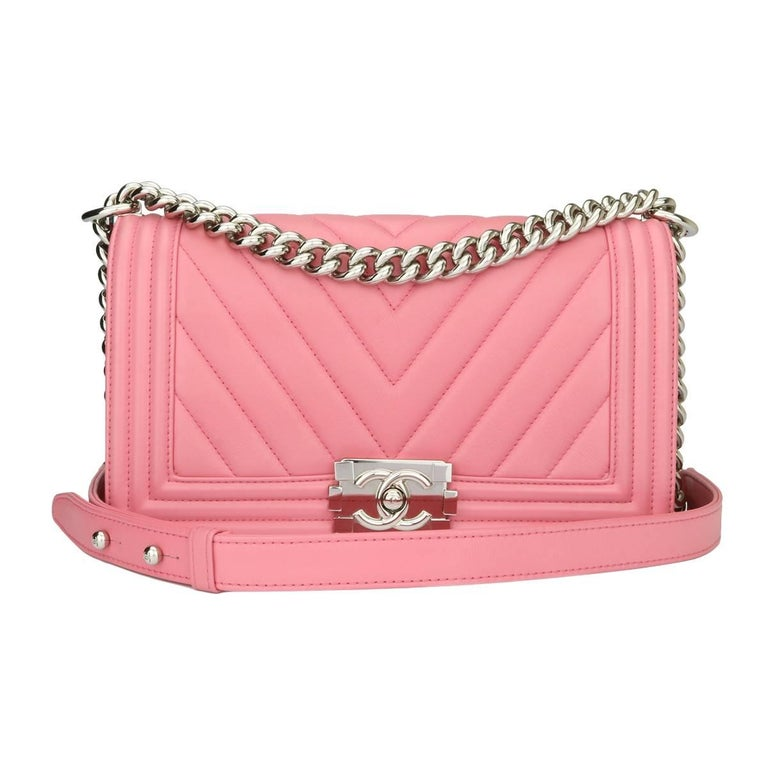 adaae204e07b Chanel Old Medium Chevron Boy Pink Calfskin with Shiny Silver Hardware 2016  For Sale